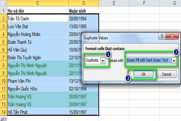 Bảng kết quả lọc dữ liệu trùng lặp